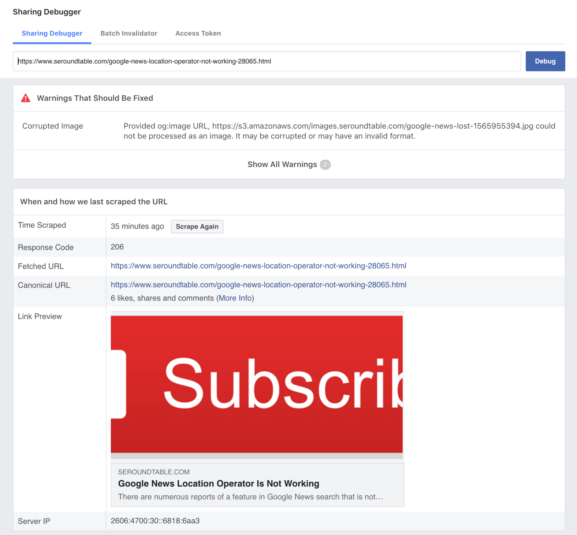 Does Facebook have a problem with HTTPS URLs in posts with images?